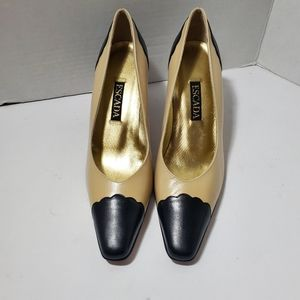 Escada Nude And Black Heels 7 1/2 B